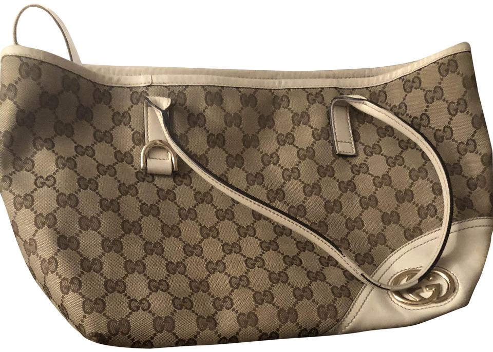 205a8d5c4b8 Gucci Monogram   Leather Brown Off White Shoulder Bag - Tradesy