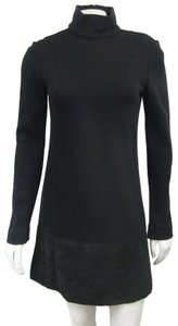 Fendi short dress Black Knit Leather Suede Shift Mock on Tradesy