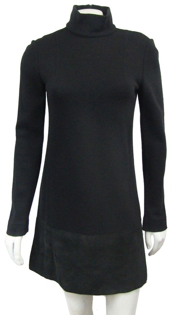Item - Black 38 0 Knit Suede Leather Shift Wool Mock Neck Long Short Casual Dress Size 0 (XS)