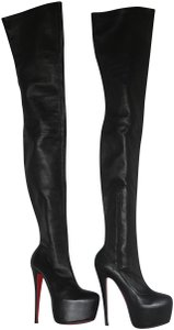 Christian Louboutin Thigh High Over The Knee Black Boots