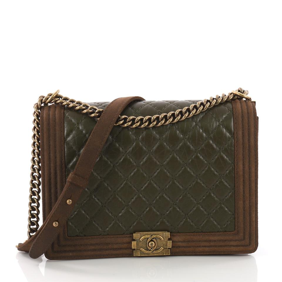ef49ebd3704 Chanel Classic Flap Boy Paris-edinburgh Quilted Aged Calfskin With Brown  Nubuck Leather Shoulder Bag