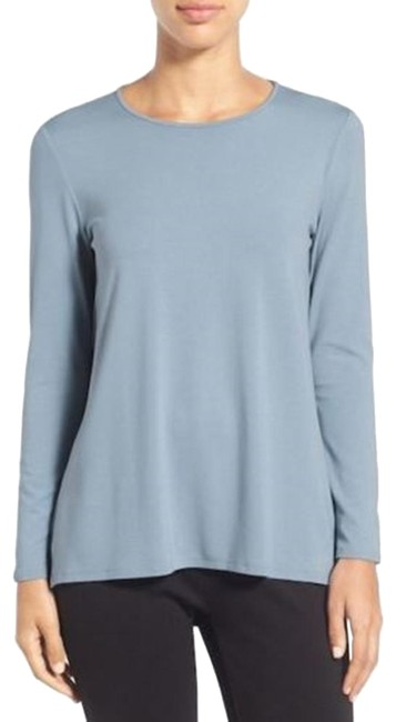 Preload https://img-static.tradesy.com/item/24475866/eileen-fisher-water-blue-new-crew-neck-long-sleeve-jersey-knit-blouse-size-12-l-0-2-650-650.jpg