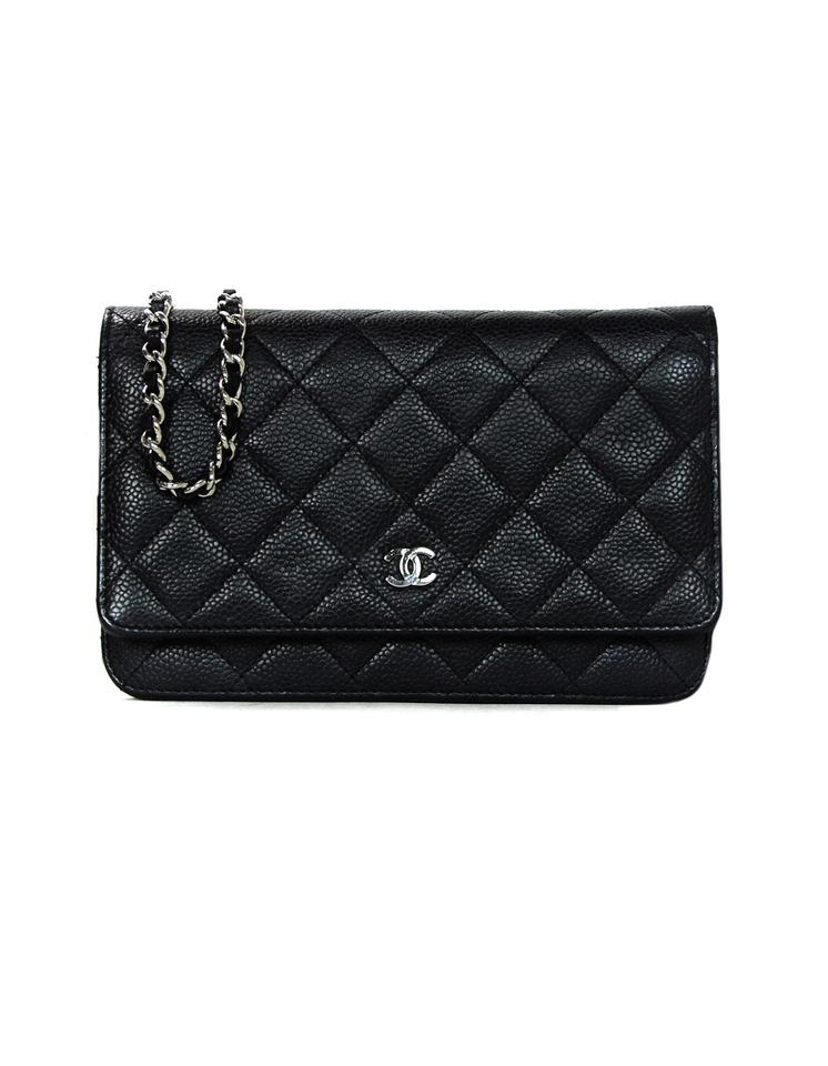 Chanel Wallet on Chain Quilted Caviar Black Leather Cross Body Bag ... dcb6d83791b23