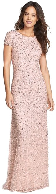 Item - Blush Short-sleeve All Over Sequin Gown (Blush) Long Formal Dress Size 2 (XS)