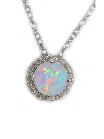 Other Opal & Diamond Round Pendant .925 Sterling Silver Image 1