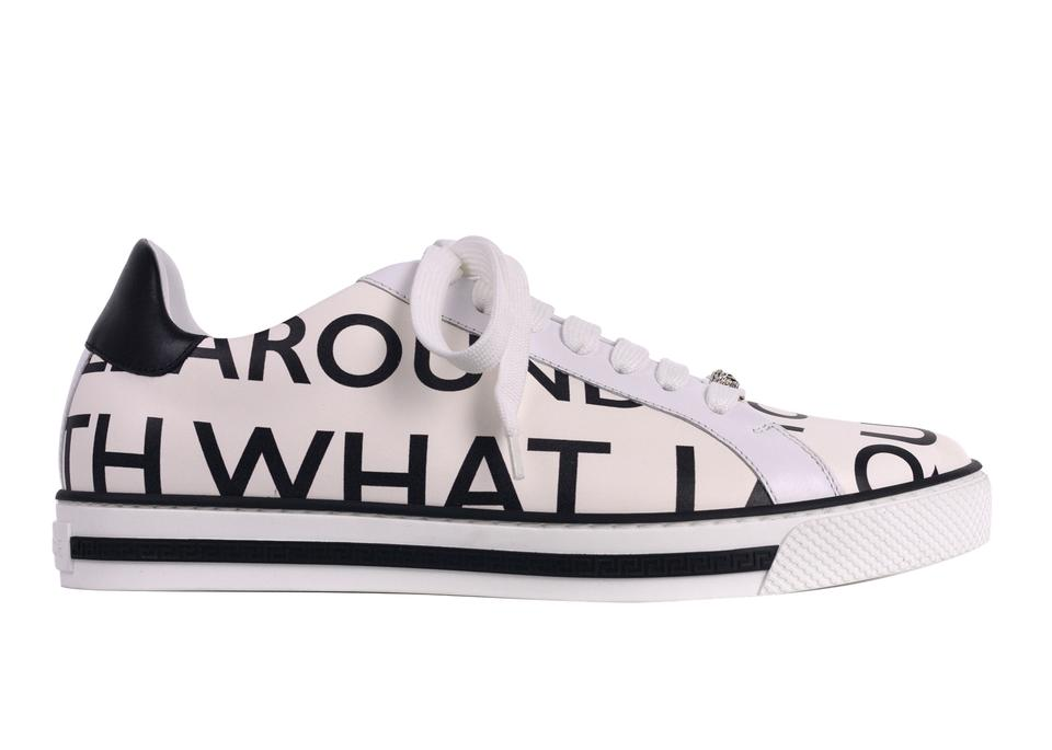 fb40e7b04163 Versace White Women s Leather Letter Print Low Top Sneakers C3148-40  Sneakers