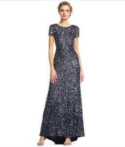 Adrianna Papell Charcoal Polyester Women's Short-sleeve All Over Sequin Gown ) Formal Bridesmaid/Mob Dress Size 4 (S)