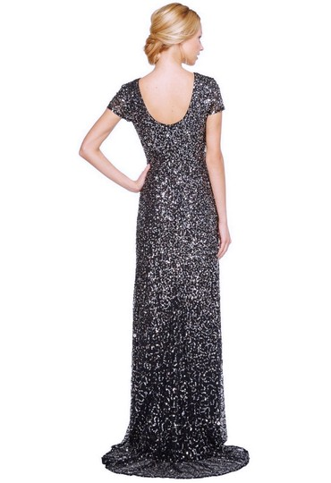 Adrianna Papell Charcoal Polyester Women's Short-sleeve All Over Sequin Gown ) Formal Bridesmaid/Mob Dress Size 4 (S) Image 1