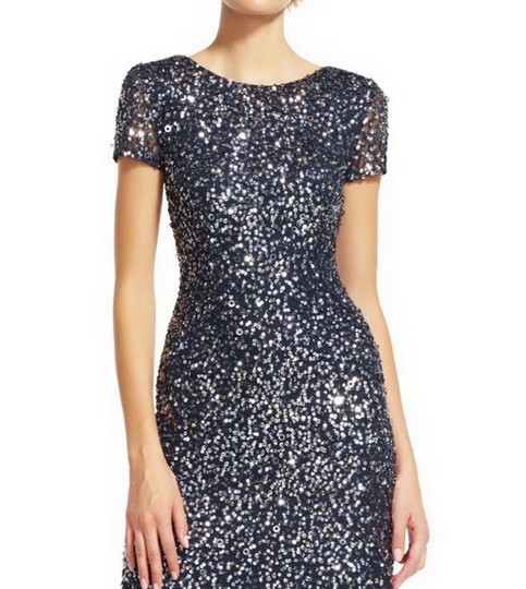 Adrianna Papell Charcoal Polyester Women's Short-sleeve All Over Sequin Gown ) Formal Bridesmaid/Mob Dress Size 4 (S) Image 2