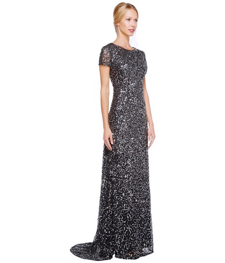 Adrianna Papell Charcoal Polyester Women's Short-sleeve All Over Sequin Gown ) Formal Bridesmaid/Mob Dress Size 6 (S) Image 3