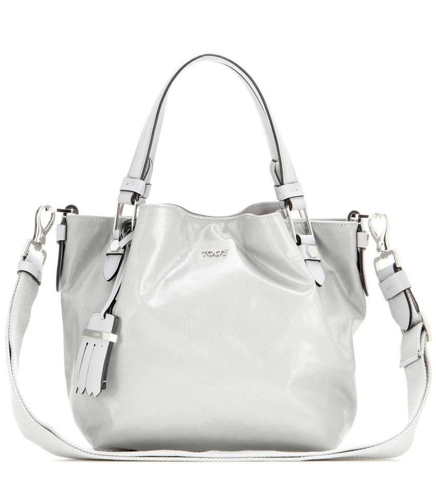 bd09c11ab1 Tod's Flower Micro Coated Canvas Metallic Grey Shoulder Tot Silver Leather  Tote