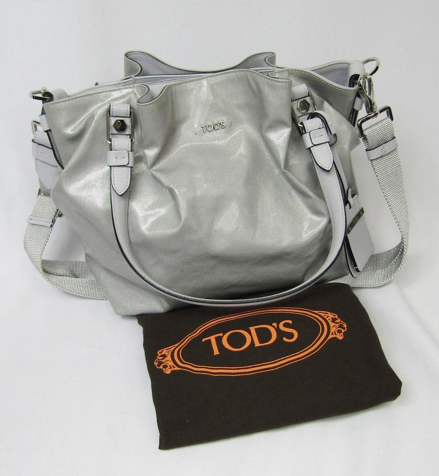 Tod s Flower Micro Coated Canvas Metallic Grey Shoulder Tot Silver ... 1075d19e9b9d8