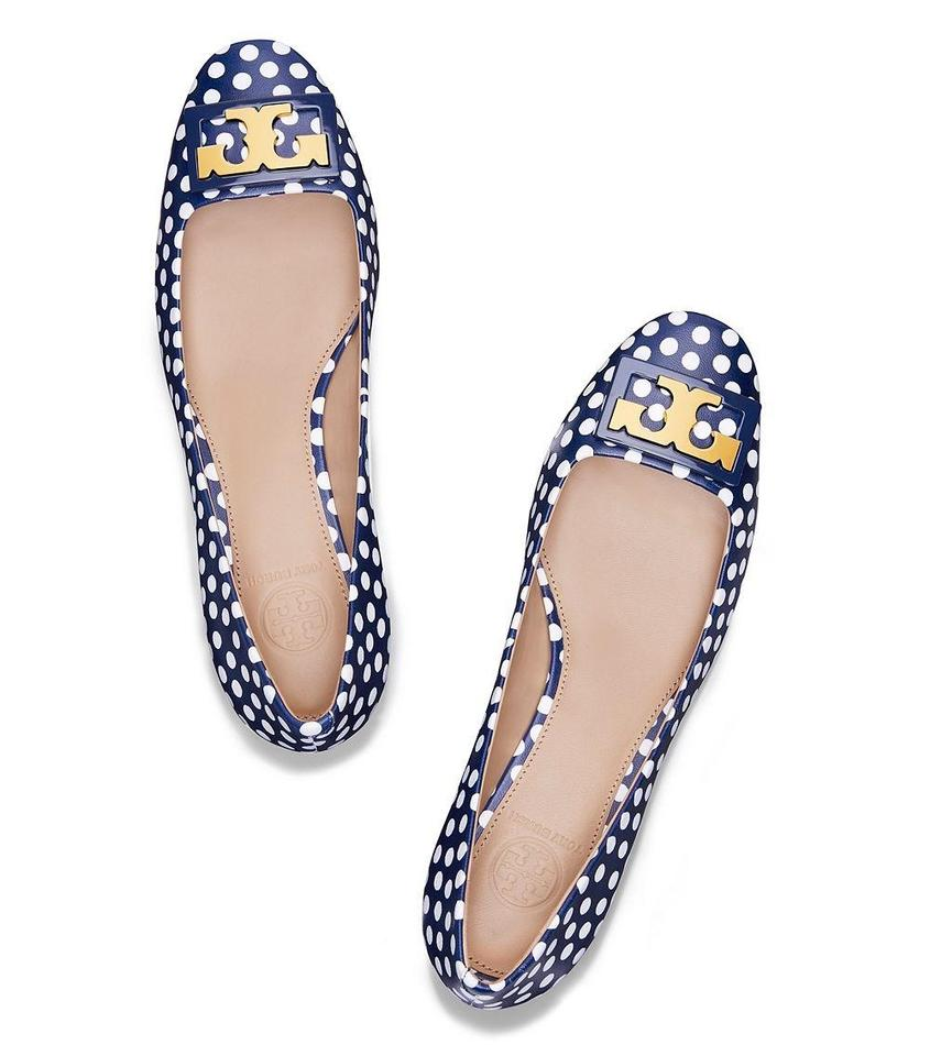 44cdefaf1 Tory Burch Blue Gigi T Polka Dot Leather Gold Buckle Reva Low Pumps ...
