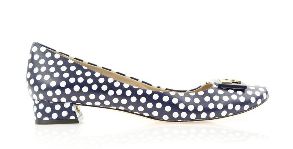 6168aefcf Tory Burch Blue Gigi T Polka Dot Leather Gold Buckle Reva Low Pumps Size US  8.5 Regular (M