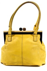 Kate Spade Chrome Hardware Mint Condition Size True Opening Satchel in yellow leather with hard wood frame and kiss closure