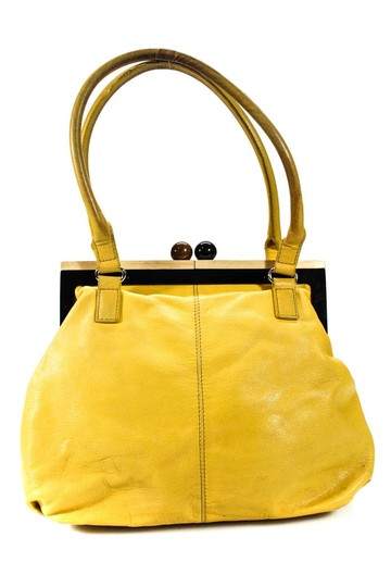 Kate Spade Chrome Hardware Mint Condition Size True Opening Satchel in yellow leather with hard wood frame and kiss closure Image 3