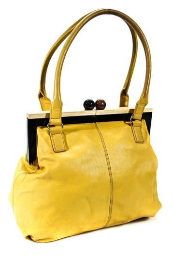 Kate Spade Chrome Hardware Mint Condition Size True Opening Satchel in yellow leather with hard wood frame and kiss closure Image 6