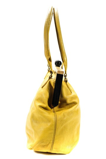 Kate Spade Chrome Hardware Mint Condition Size True Opening Satchel in yellow leather with hard wood frame and kiss closure Image 9