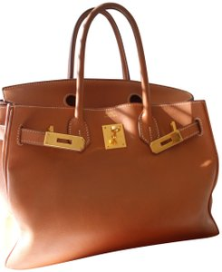 Hermès Leather Gold Hardware Satchel in Brown