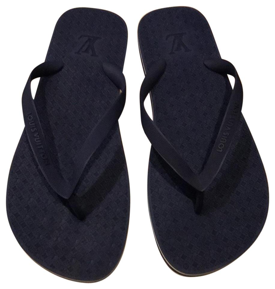 eefc5da21 Louis Vuitton Men s Flip Flops Blue Sandals Size US 11 Regular (M