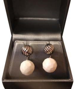David Yurman cable and white agate, drop earrings