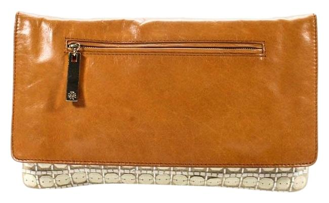 Item - Style Purses/Designer Purses Iridescent Ivory Beaded Canvas and Brown Leather with Gold Accents Clutch