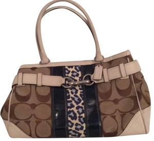 Coach Satchel in Brown canvas with white leather trim