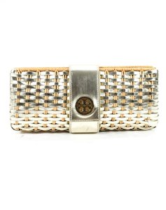 Tory Burch Mint Condition Rare Woven Hard Snap natural wicker and silver leather with gold accents Clutch