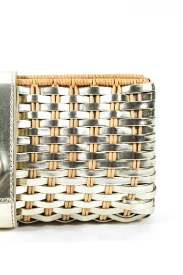 Tory Burch Mint Condition Rare Woven Hard Snap natural wicker and silver leather with gold accents Clutch Image 5