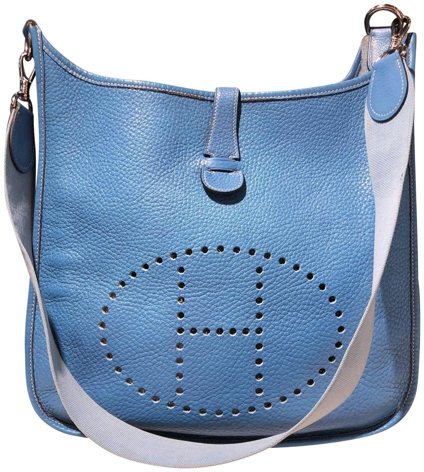 181ca1c61692 Hermès Evelyne Vintage Gm Square F Jean Sky Light Baby Blue Leather Cross  Body Bag