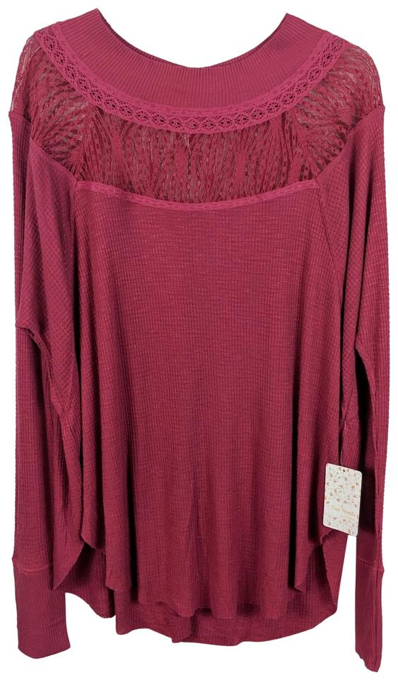39e932493aaf55 Free People Red Spring Valley Lace Long Sleeve Blouse Size 6 (S ...