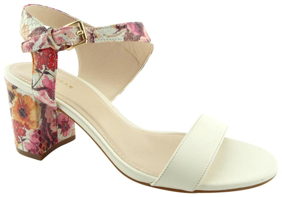 57dde8d5bcc Cole Haan Floral Ivory Leather Ankle Strap Block-heel Sandals Size ...