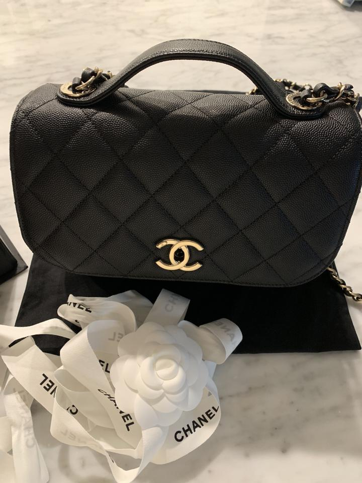 4c36bf7188fc06 Chanel Flap with Top Handle Vanity Mini Black Calfskin Leather Cross ...