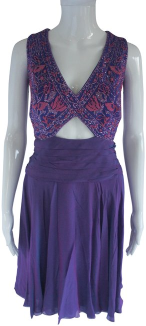 Item - Purple Embroidered Corset and Flouncy Skirt Mid-length Formal Dress Size 4 (S)
