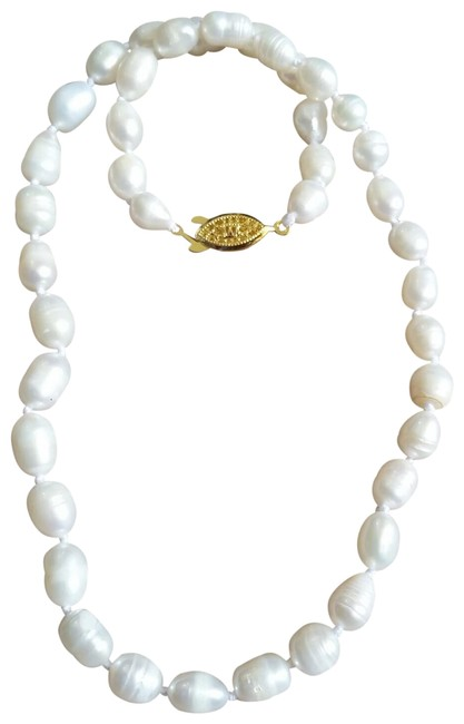 """Item - White 7-8mm Akoya Baroque Pearl 14k Gold Filled Clasp 18"""" Necklace"""