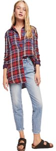Free People Off Button Down Shirt Red Combo