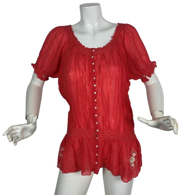 Preload https://img-static.tradesy.com/item/24476798/joie-red-embroidered-tunic-blouse-size-12-l-0-1-650-650.jpg