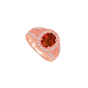DesignByVeronica Rose Gold Vermeil Filigree Ring with CZ and Garnet