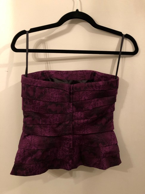 White House | Black Market Strapless Animal Print Top Purple Image 2