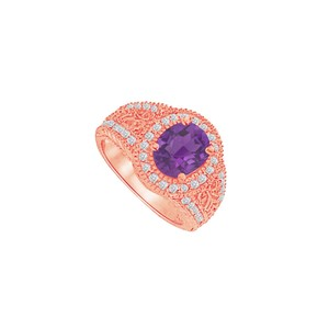 DesignByVeronica Amethyst and CZ Filigree Engagement Ring 2.00 CT TGW