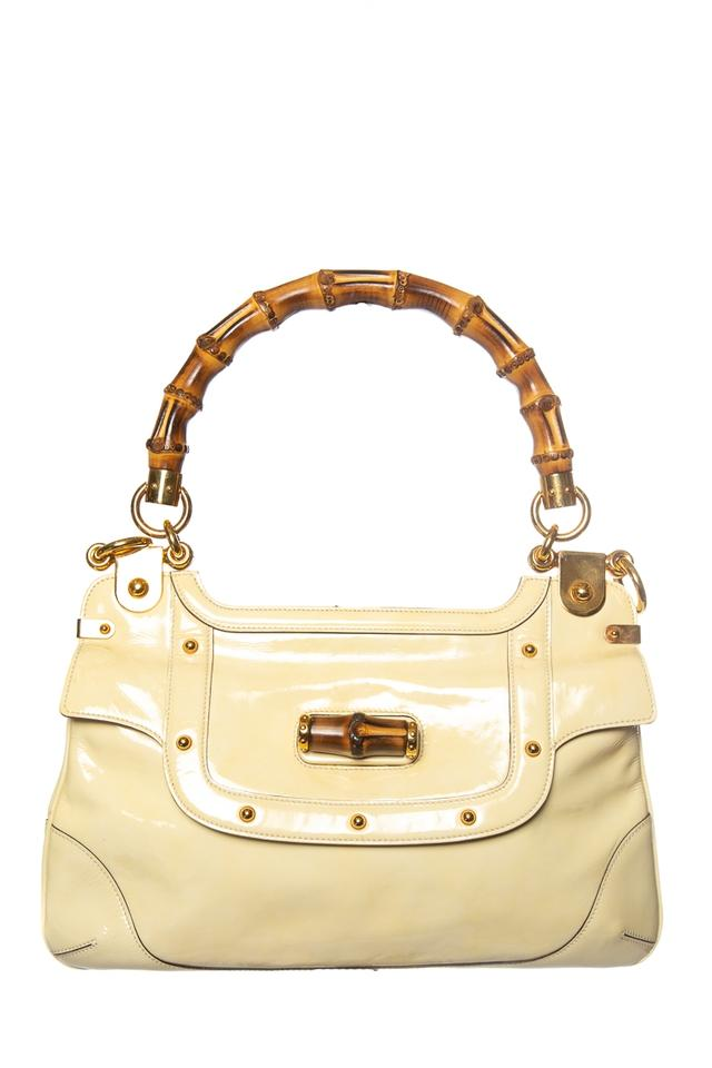 Gucci Yellow Bamboo Handle Vintage Tan Patent Leather Shoulder Bag ... 9f45f385276aa