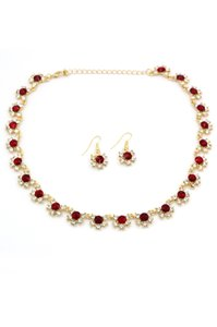 Ocean Fashion Classic gold red crystal necklace earrings set