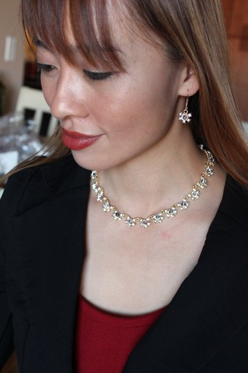 Ocean Fashion Classic gold red crystal necklace earrings set Image 1