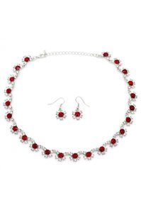 Ocean Fashion Classic silver red crystal necklace earrings set