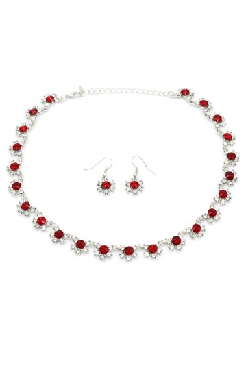Ocean Fashion Classic silver red crystal necklace earrings set Image 3
