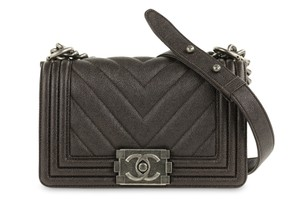 Chanel Caviar Chevron Small Boy Shoulder Bag