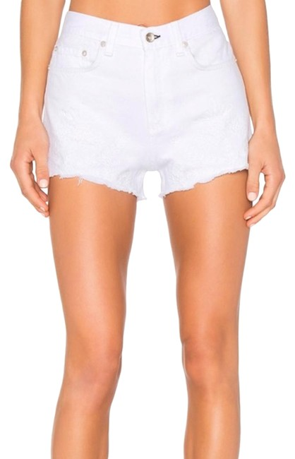 Item - White And Embroidered Justine Jean Shorts Size 0 (XS, 25)