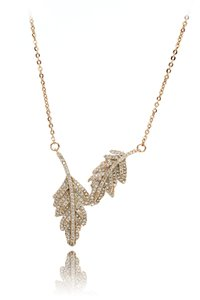 Ocean Fashion 925 gold Fashion crystal leaf clavicle necklace