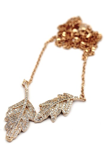Ocean Fashion 925 gold Fashion crystal leaf clavicle necklace Image 1