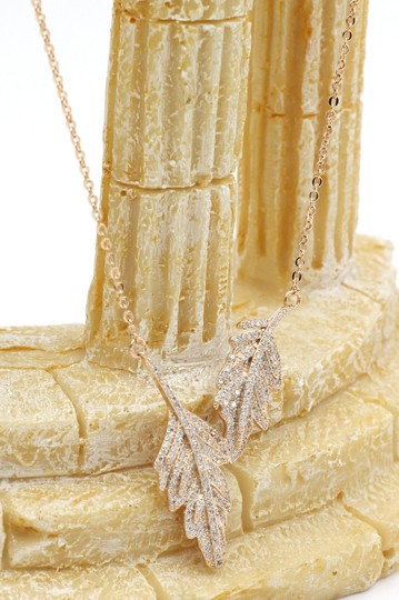 Ocean Fashion 925 gold Fashion crystal leaf clavicle necklace Image 2